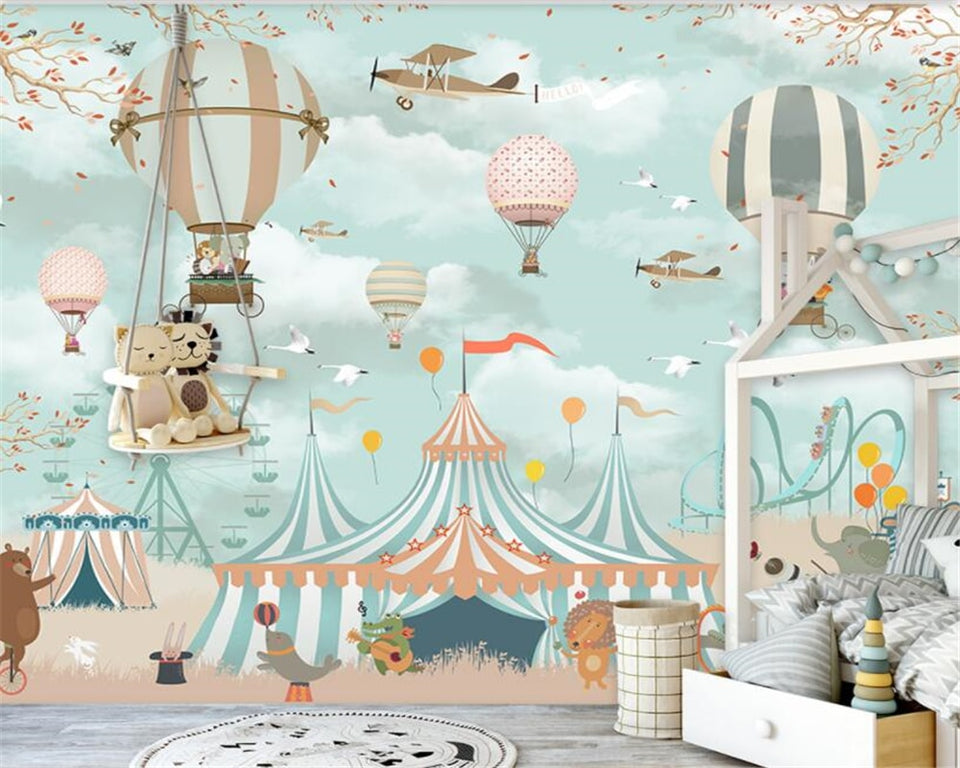 Avikalp Large 3d Wallpaper Cartoon Hot Air Balloon Airplane Animal Pup Circus Playground