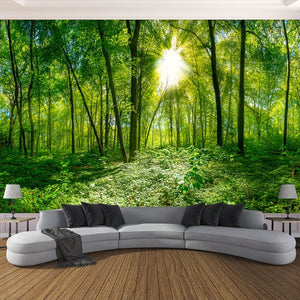 Avikalp 3D Photo Wallpaper 3D Stereoscopic Space Green Forest Trees Nature Landscape Large Mural