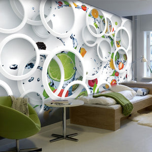 Avikalp Custom Mural Wallpaper Modern Abstract Art 3D Stereoscopic White Circle Fruits Large Wall
