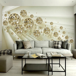 Avikalp Custom Photo Mural Wallpaper 3D Stereo Abstract Space Golden Ball Modern Fashion Interior