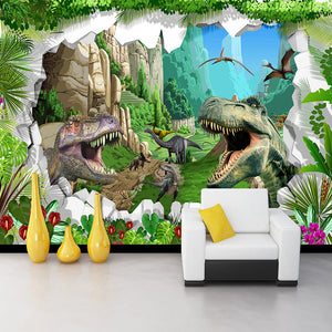 Avikalp Custom Photo Wall Paper Mural 3D Cartoon Dinosaur Forest Landscape Wallpaper Kids Bedroom