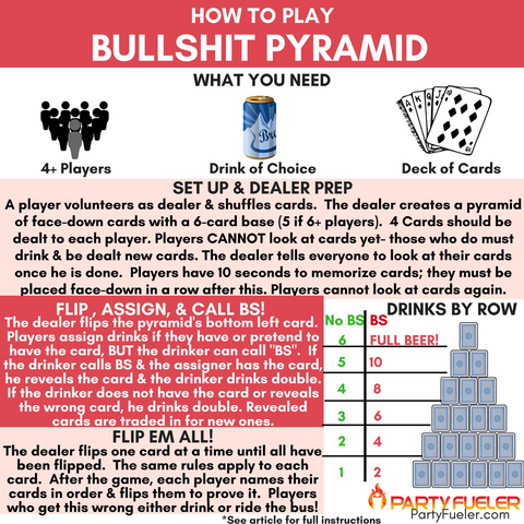 Bullshit Pyramid Drinking Game Rules