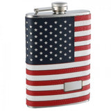 Engraved American Flag Flask