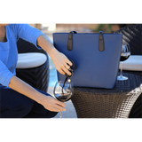 PortoVino Wine Purse Being Used (Blue)