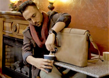 Man with PortoVino Hidden Drink Bag (Brown)