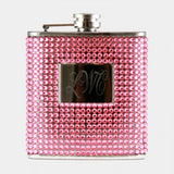 Pink Gem Studded Personalized Flask