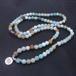 Frosted Amazonite Beads Yoga Mala Necklace or Bracelet
