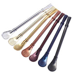 Colorful Stainless Steel Straw Spoon