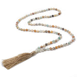 Handmade Tassel Pendant Necklace Natural Stones