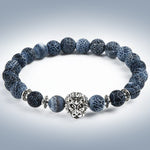 Natural Stone Yoga Bracelet with Tiger Leopard or Owl Head