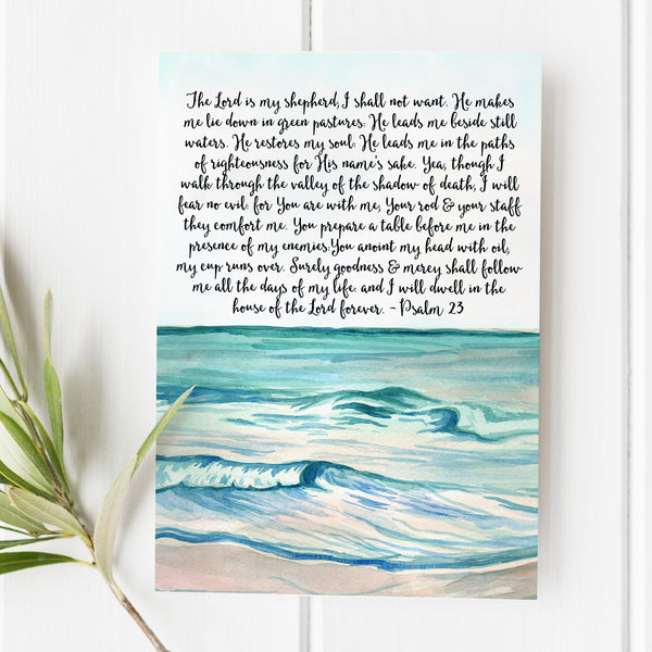 Psalm 23 - The Lord is my Shepherd - No. 4 - Watercolor Beach