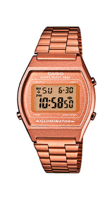 Reloj Casio Collection B640WC-5AEF, unisex, de acero COBRIZO, crono, alarma, cuenta atrás, pantalla destellante y sumergible.