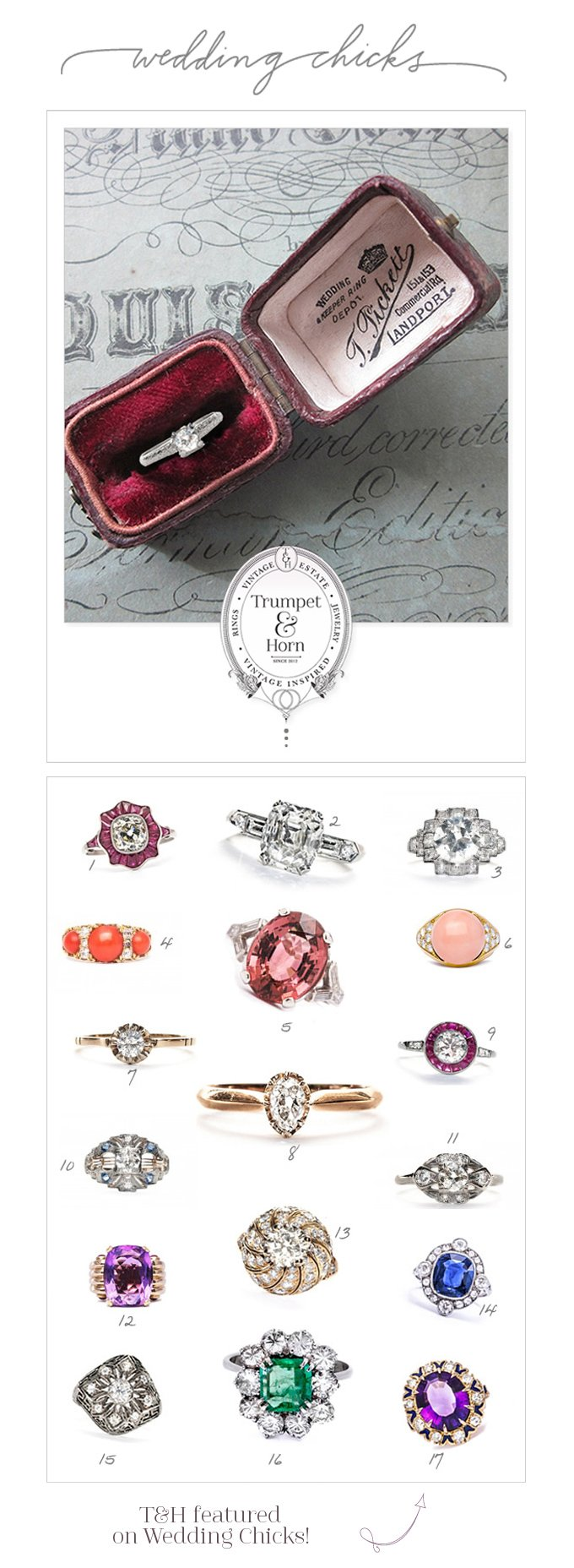 T&H Vintage Engagement Rings featured on Wedding Chicks!