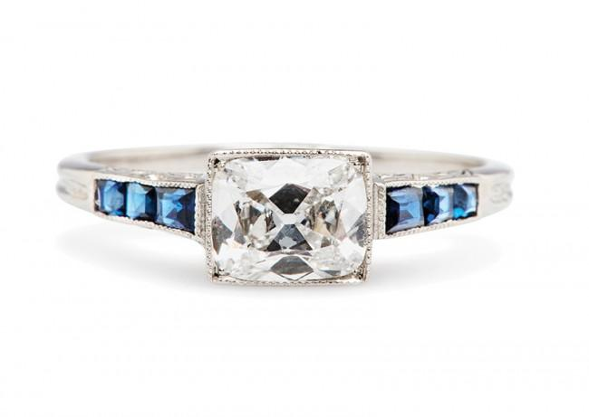 Friday Favorite:  Kimball Vintage Diamond and Sapphire Engagement Ring
