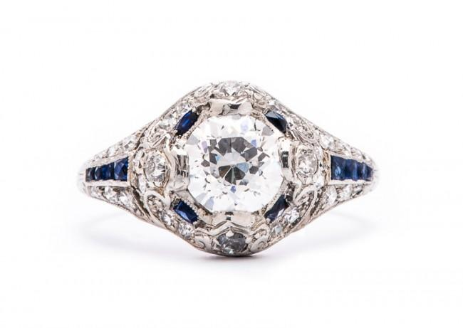 Friday Favorite:  Mulberry Vintage Diamond and Sapphire Engagement Ring