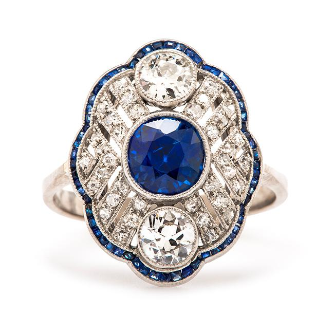 Friday Favorite:  Vienna Edwardian Diamond and Sapphire Engagement Ring