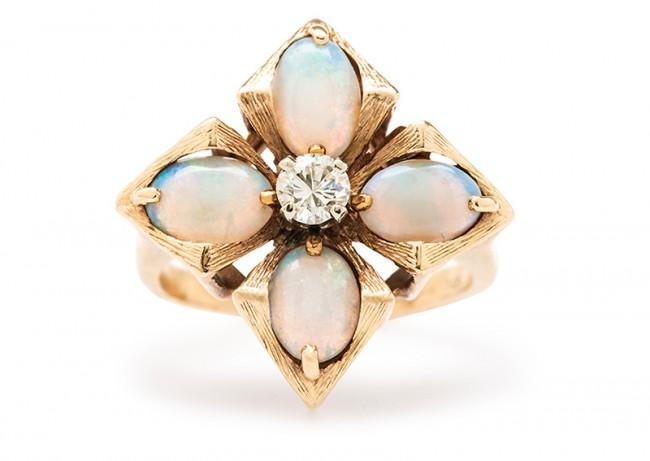 Friday Favorite: Mayflower Opal and Diamond Cocktail Ring