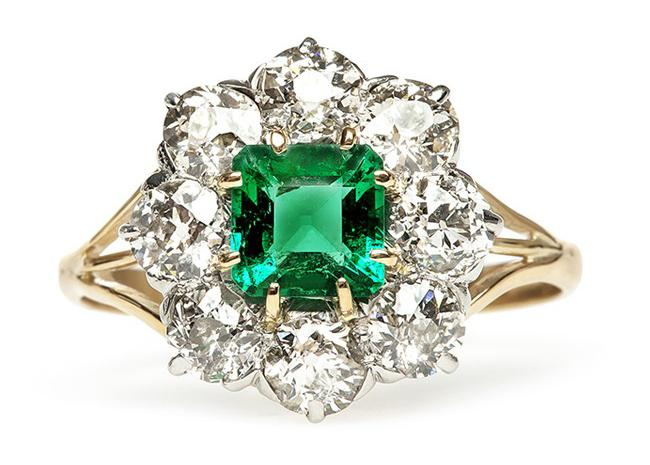Our Favorite Vintage Emerald Engagement Ring for St. Patrick's Day!