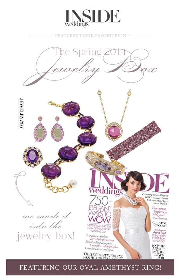T&H Amethyst Ring Featured in Inside Weddings Magazine!