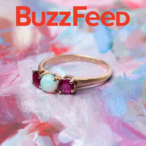Buzzfeed Features Trumpet & Horn: Colorful Engagement Rings