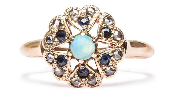 vintage opal sapphire ring
