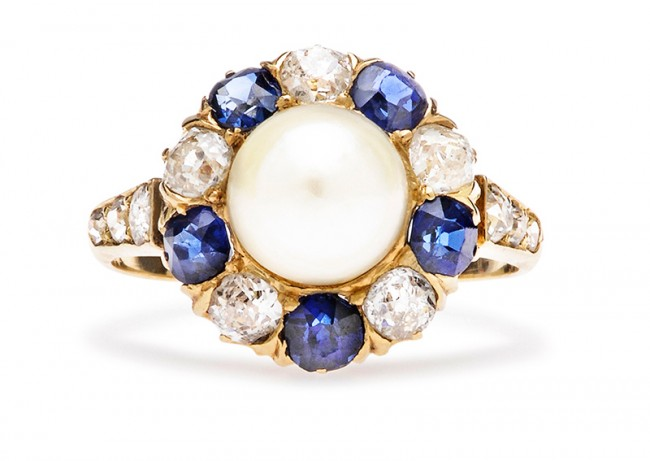 antique pearl sapphire ring