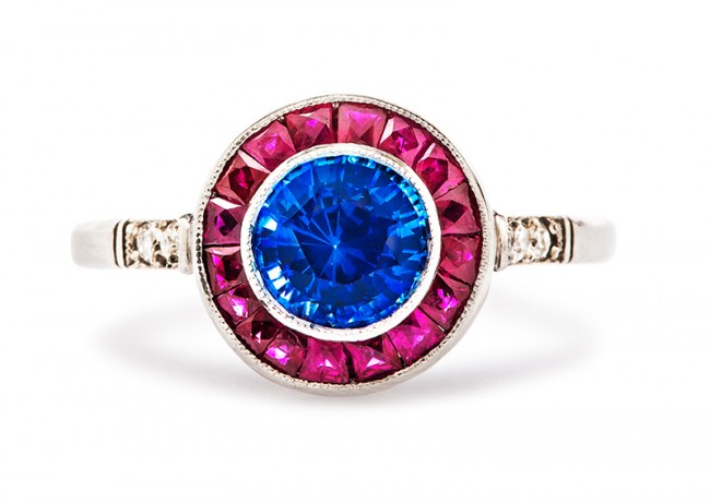 vintage sapphire and ruby engagement ring