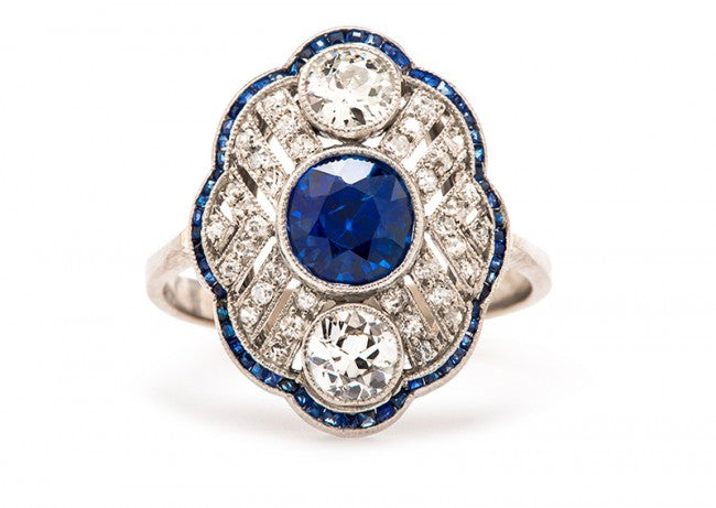 vintage edwardian sapphire diamond engagement ring