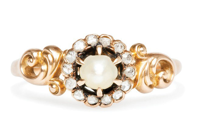 vintage pearl diamond ring