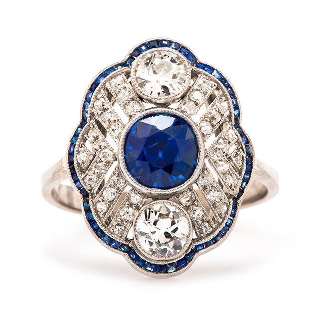 Vienna is a dramatic sapphire and diamond navette style Edwardian engagement ring.  Stunning!