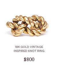 vintage inspired gold knot ring