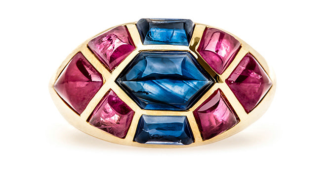 vintage sapphire ruby cocktail ring