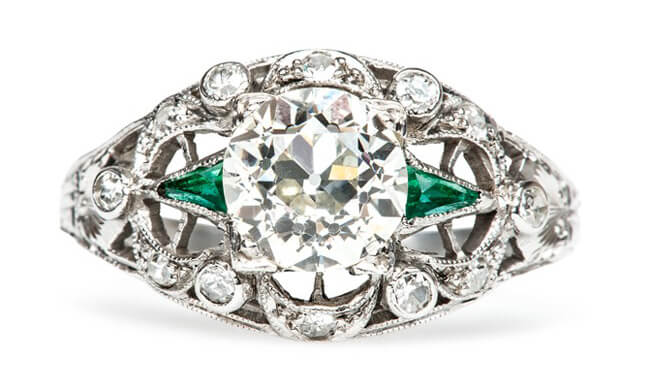 vintage diamond emerald engagement ring