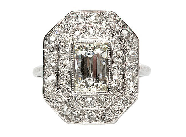 vintage art deco halo ring