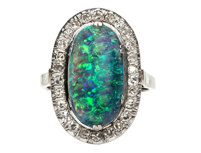 opal diamond cocktail ring