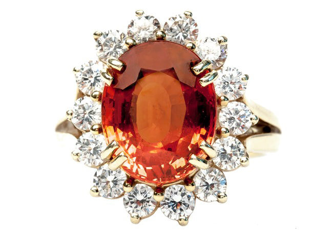 orange garnet and diamond cocktail ring