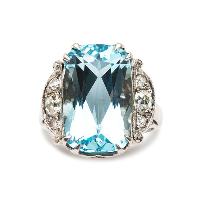 vintage blue aquamarine cocktail ring clearlake