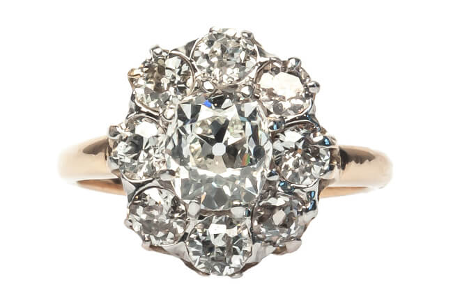 vintage old mine cut diamond ring
