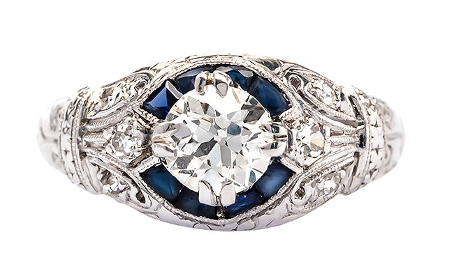 vintage diamond and sapphire engagement ring