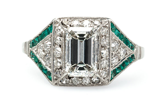 vintage art deco diamond emerald engagement ring