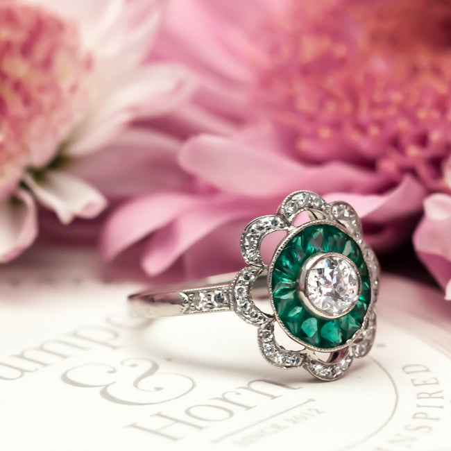 vintage emerald diamond engagement ring