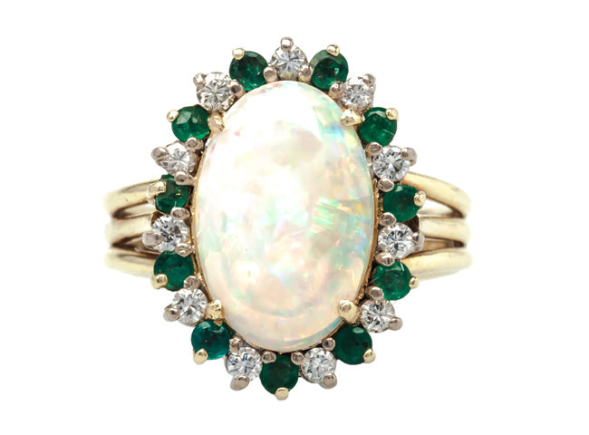vintage opal halo ring