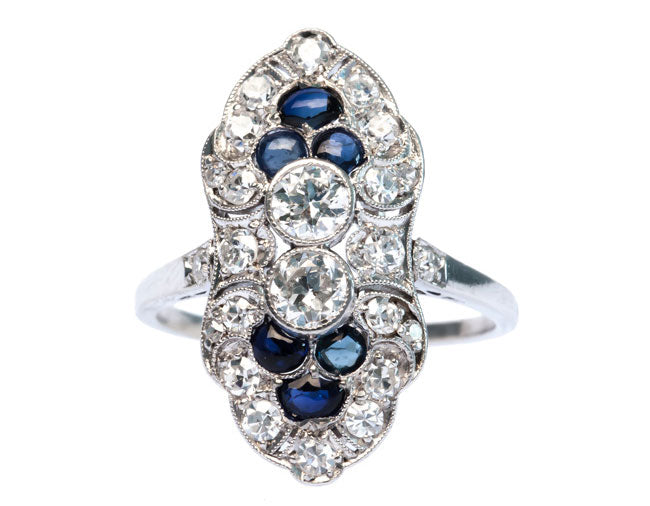 Bloomingdale is a stunning Edwardian era platinum engagement ring.