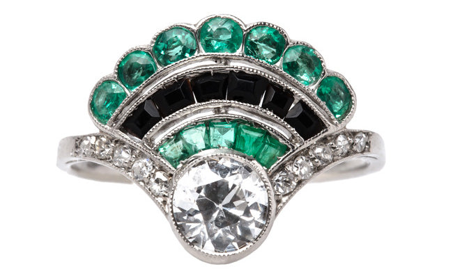 Art Deco Vintage Emerald, Onyx & Diamond Engagement Ring | Mulholland from Trumpet & Horn