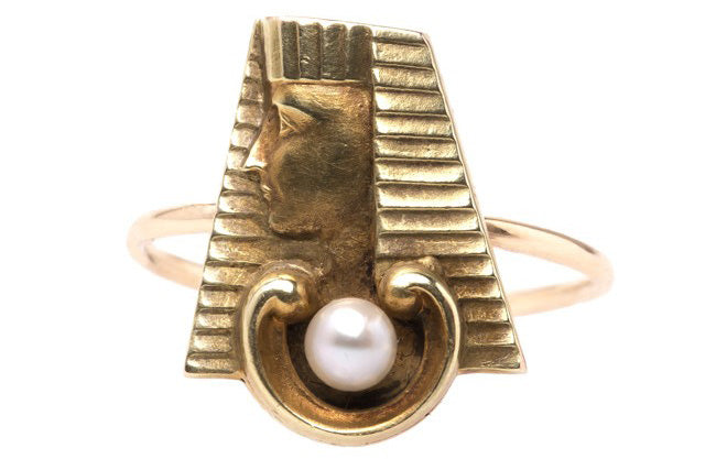 Cairo is a whimsical Egyptian inspired cocktail ring.