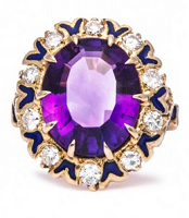 diamond and amethyst engagement ring