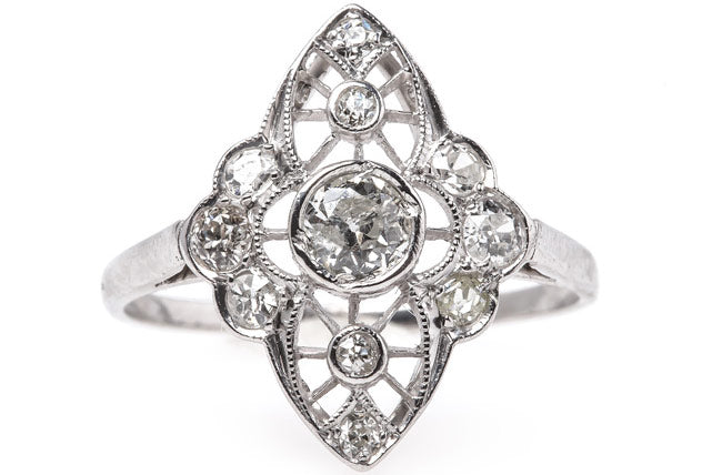 Silver City is a classic Edwardian era diamond engagement ring with Old European Cut diamonds.