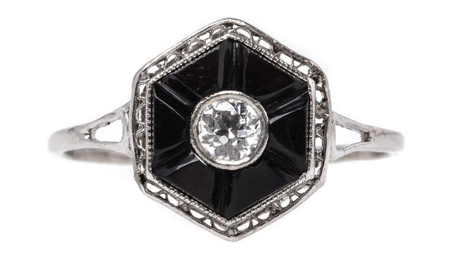 Alameda is a gorgeous classic Art Deco onyx and diamond ring.