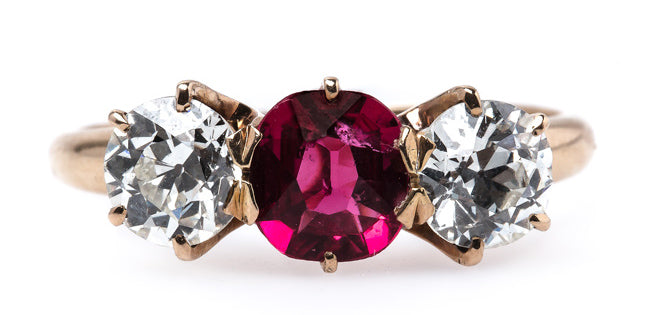 Sedona is a timeless early Victorian vintage engagement ring with a vibrant spinel center stone.