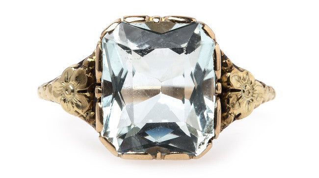 Doral Springs is a fantastic retro era aquamarine engagement ring.